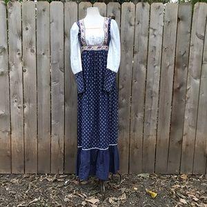 Vintage Gunne sax peasant boho prairie maxi dress
